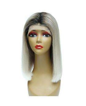 Women's Wig Front Lace Wig Bob Wig Human Hair Lace Wig Color 1BGrey