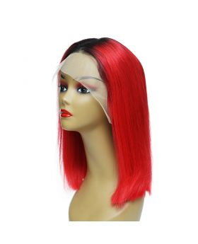 Women's Wig Front Lace Wig Bob Wig 100% Human Hair Lace Wig Color 1B Red