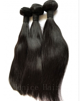 Natural black 9A grade unprocessed Indian virgin human hair weaves straight