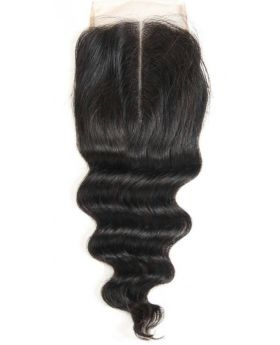 4x4 Natural black unprocessed human hair lace closure loose body wave