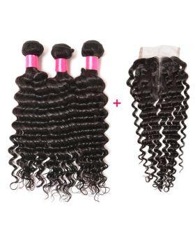 Malaysian Virgin  Human Hair Weaves Deep Wave 3 bundles with closure