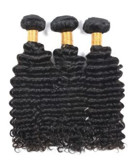 Malaysian Virgin  Human Hair Weaves Deep Wave 3 bundles with frontal