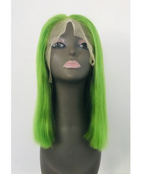 Women's Wig Front Lace Wig Bob Wig Human Hair Lace Wig Color Light Green