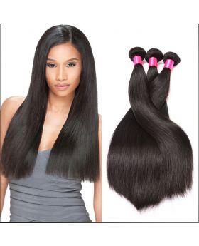 "Natural black 9A grade unprocessed Brazilian human hair weaves straight 20""x3+18"" closure"