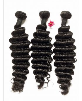 Natural black 9A grade unprocessed Indian human hair weaves deep wave