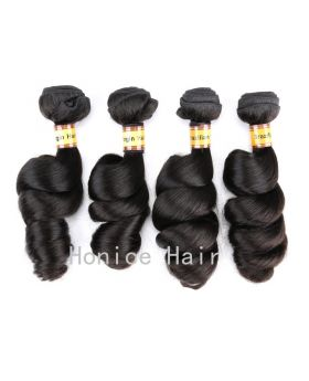 Natural black 10A grade unprocessed Brazilian human hair weaves loose wave