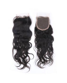 4x4 Natural black unprocessed human hair lace closure natural wave