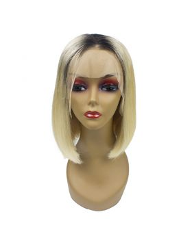 Women's Wig Front Lace Wig Bob Wig Human Hair Lace Wig Color 1B613