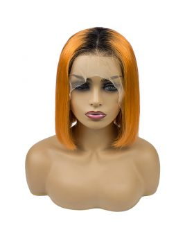 Women's Wig Front Lace Wig 180% density Bob Wig Human Hair Lace Wig Color 1B Orange