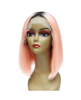 Women's Wig Front Lace Wig Bob Wig Human Hair Lace Wig Color 1BPink