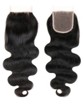 4x4 Natural black unprocessed human hair lace closure body wave