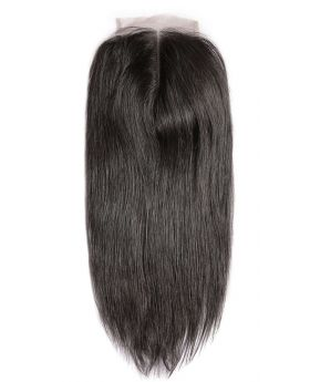 4x4 Natural black unprocessed human hair lace closure straight
