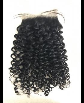 4x4 Natural black unprocessed human hair lace closure More kinky