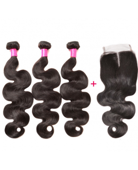 Brazilian Virgin Hair Body Wave Hair Extensions ( 3 bundles with 1 closure per lot)