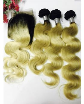 Free shipping Body wave color 1B613 Brazilian human hair weaves