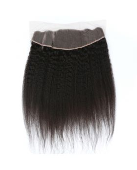 13x4 Natural black unprocessed human hair lace closure kinky straight