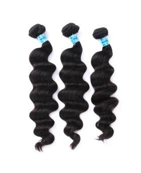 Natural black unprocessed Peruvian virgin human hair weaves Loose Body Wave Exotic Wave
