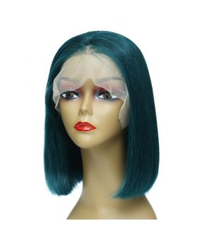 Women's Wig Front Lace Wig Bob Wig Human Hair Lace Wig Color Dark Green