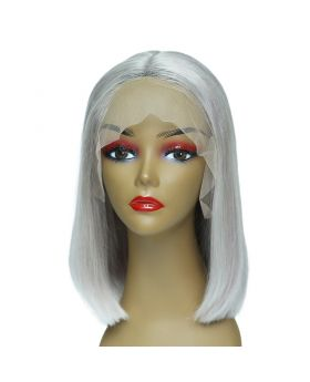 Women's Wig Front Lace Wig Bob Wig Human Hair Lace Wig Color Grey
