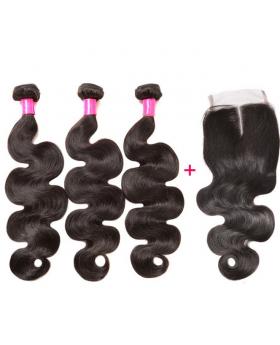 Brazilian Virgin Hair Body Wave Hair Extensions ( 3 bundles with 1 closure per lot)