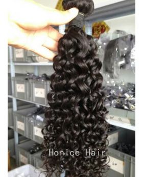 Natural black unprocessed Indian human hair weaves deep curly