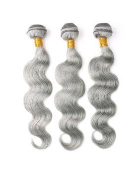 "Complete Grey Hair Gray Hair Silver Hair Body wave Peruvian human hair bundles 12""-28"" available"