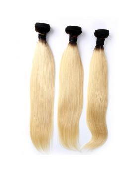 """1B613 Straight Blonde Hair with Black Roots Brazilian human hair bundles 12""""-26"""" available"""