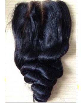 4x4 Natural Black Unprocessed Human Hair Swiss Lace Closure Loose Wave