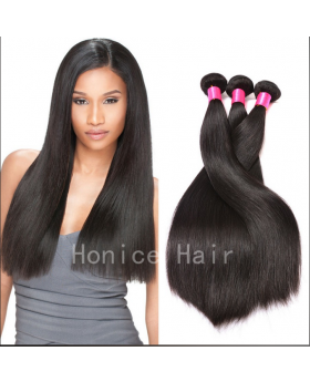 Free shipping! Natural black unprocessed Brazilian virgin human hair weaves straight 3 bundles and a 4x4 closure