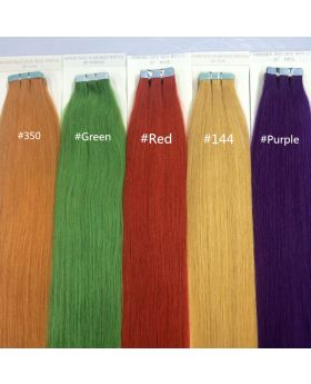 Straight Tape Hair Extensions Human Hair Colored Tape Hair 20 small pieces per pack 40grams