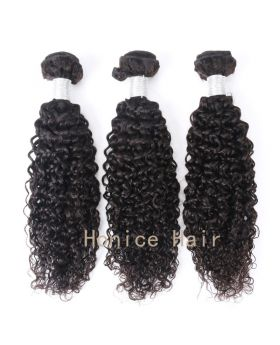 Natural black  unprocessed Brazilian human hair weaves deep curly