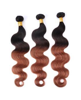 "Color hair 1B30 body wave Brazilian human hair bundles 12""-26"""