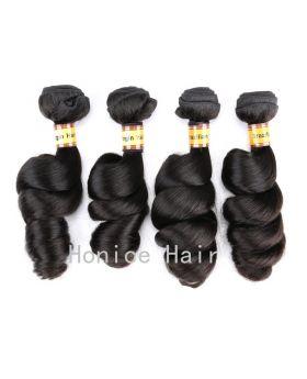 Natural black unprocessed Brazilian virgin human hair weaves loose wave