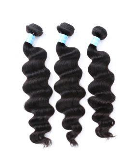 Natural black unprocessed Malaysian virgin human hair weaves Loose Body Wave Exotic Wave
