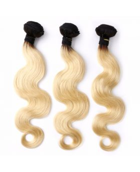 """1B613 Body wave Blonde Hair with Black Roots Brazilian human hair bundles 10""""-26"""" available"""