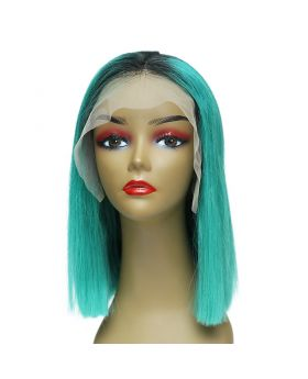 Women's Wig Front Lace Wig Bob Wig 100% Human Hair Lace Wig Color 1BLakeBlue