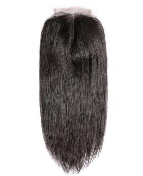 4x4 Natural Black Unprocessed Human Hair Swiss Lace Closure Straight