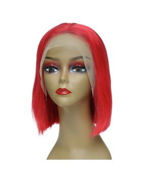 Women's Wig Front Lace Wig Bob Wig Human Hair Lace Wig Color Red