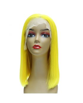 Women's Wig Front Lace Wig Bob Wig Human Hair Lace Wig Color Yellow