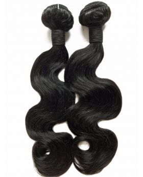 Natural black unprocessed Indian virgin human hair weaves body wave