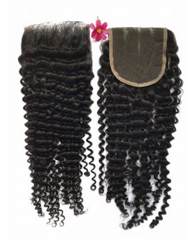 4x4 Natural Black Unprocessed Human Hair Swiss Lace Closure Kinky Curly