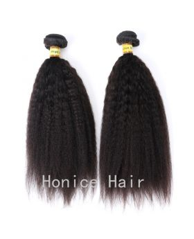 Natural black unprocessed Indian human hair weaves kinky straight